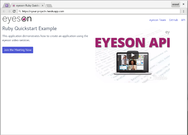 How to setup a video meeting platform using eyeson and ruby